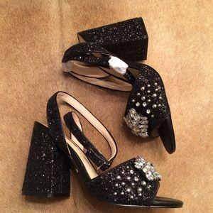 5bc942e420 Topshop Shoes   Razzle Glitter Block Heel   Poshmark
